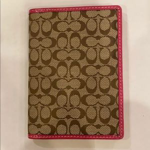 New Coach brown and pink passport holder